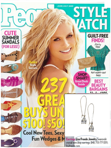 People Style Watch Magazine Features Lisa Freede Jewelry Crystal Drop Earrings